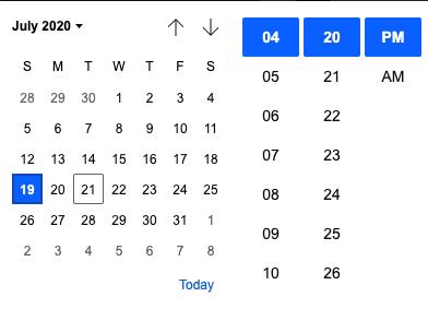 datetime-local Calendar View