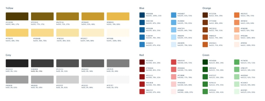 The color palette from Refactoring UI that I used for the project.