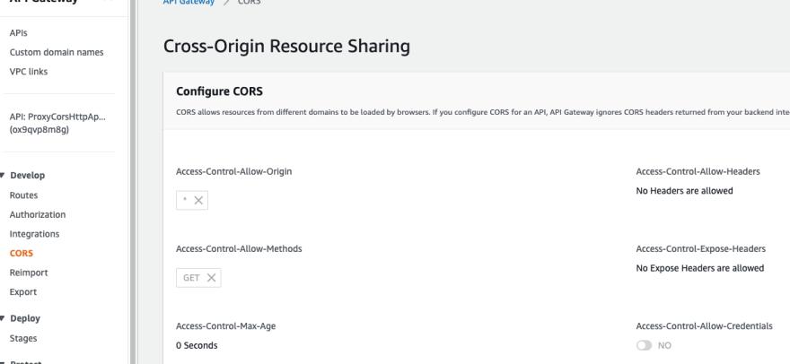 HTTP API CORS