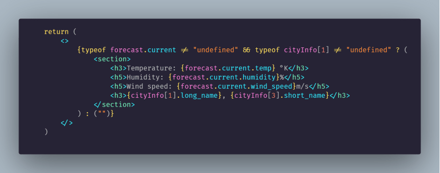 JSX code for displaying the response data