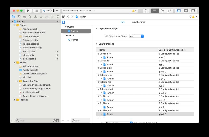 iOS Xcode configurations