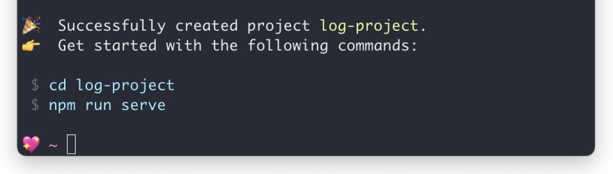 successful creation of log-project in vue