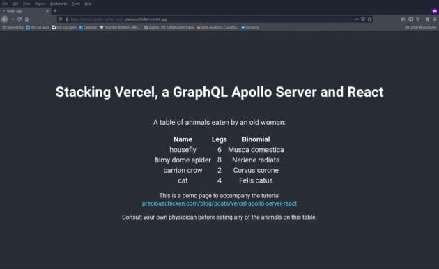 Vercel demo screenshot