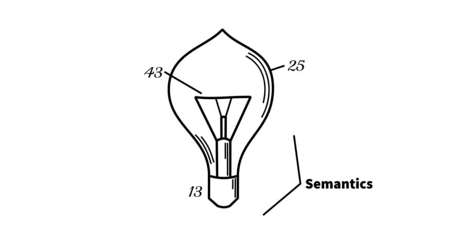 Schematic of a light bulb, labelled with 'Semantics'.