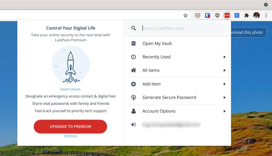 Lastpass Chrome extension popup
