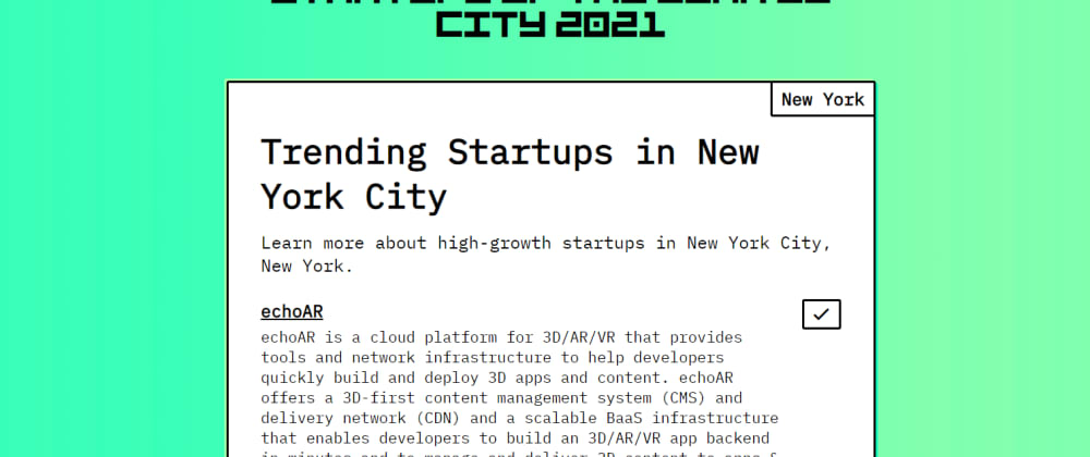 """Cover image for echoAR nominated """"one of the best startups in NYC"""" - VOTE NOW!"""