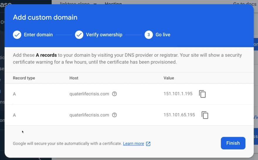 Success Dialog for Firebase Hosting Domain