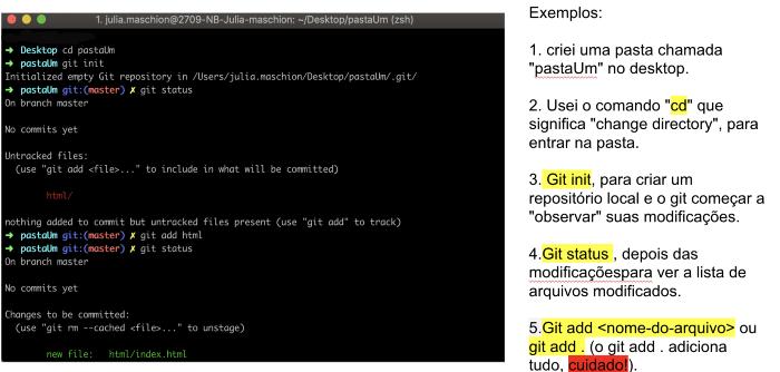 Imagem com exemplos de utilização no terminal