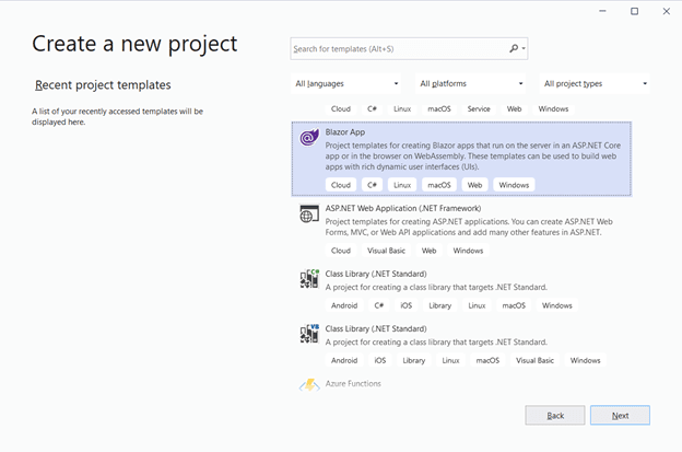 Select Blazor App from the list and click Next