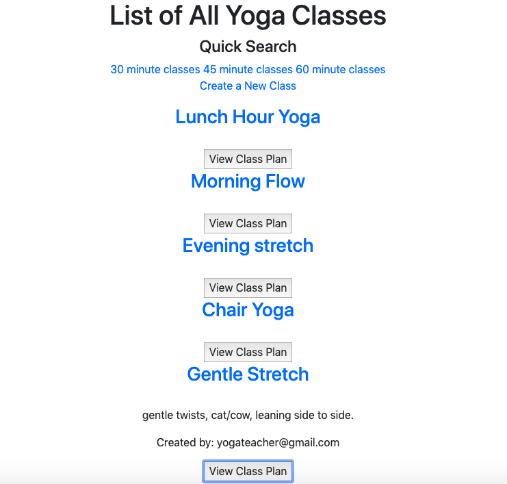 Index page of yoga classes