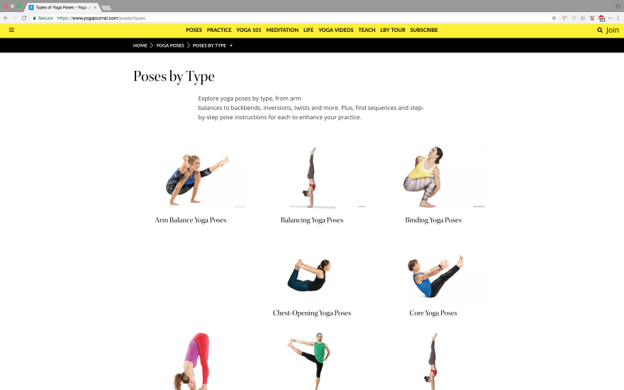 Yoga Journal's Poses by Type Webpage