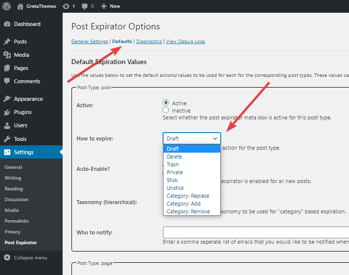 your pPosts/pages will be set to the default status when they expires