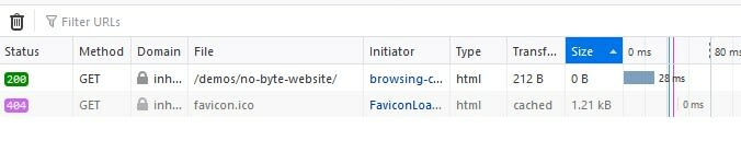 FireFox network tab showing a 0KB HTML file