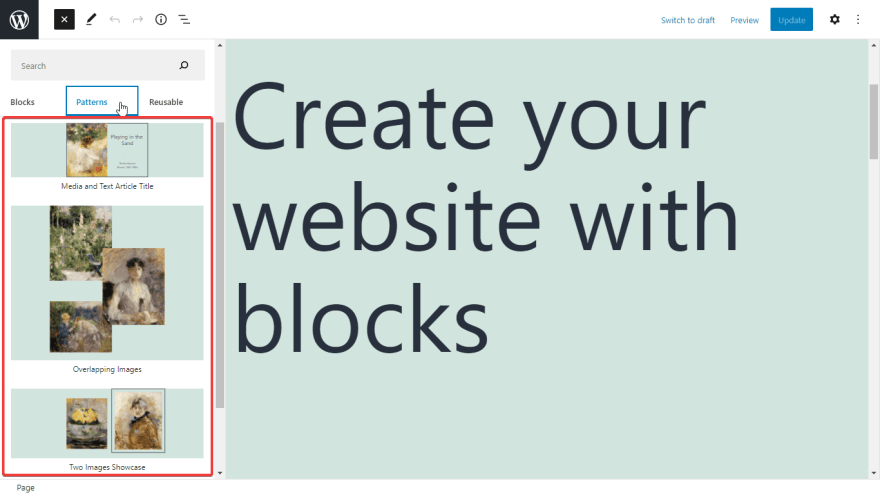When applying a Block Pattern of FSE, you can edit its content or settings without affecting other sections created before from it
