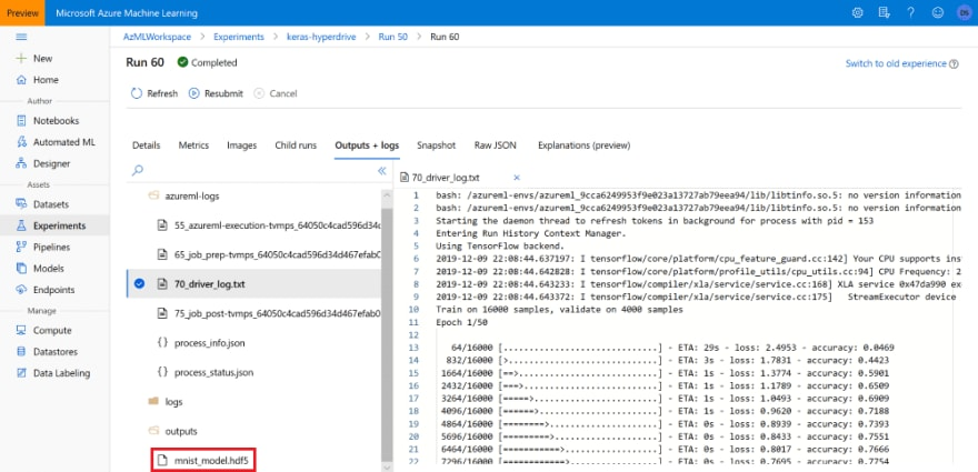 Saída de experimento do Azure ML