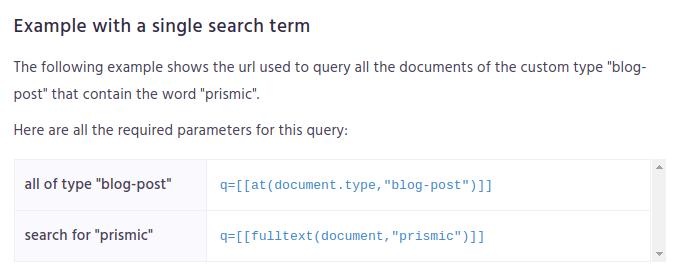Prismic search API
