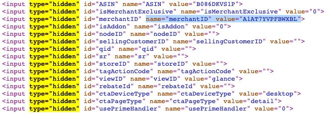 Hidden Inputs on Amazon Products