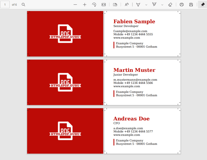 Business Cards, three times the same HTML rendered with the passed data.