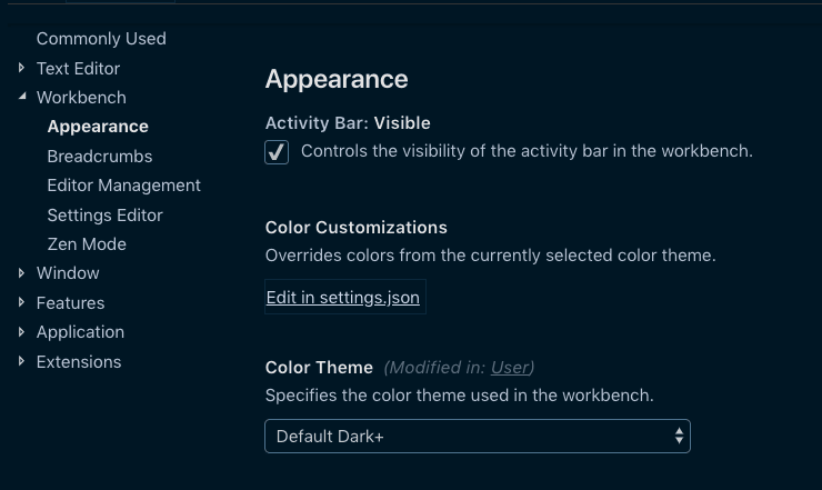 In the sidebar choose Workbench > Appearance