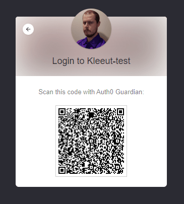 QR code is displayed to user
