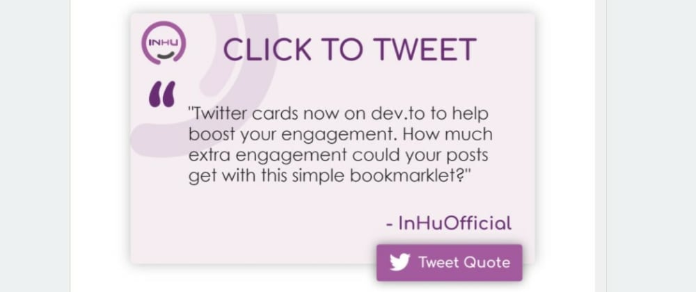 """Cover image for Do you want more 📈  shares on your dev.to articles❓ Add a fancy """"click to tweet"""" button to your posts in just one click!"""