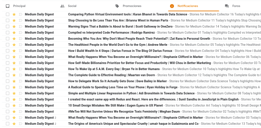 A Gmail inbox filled with Medium Daily Digest emails