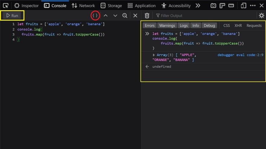 Firefox Dev Tools Snippets Example