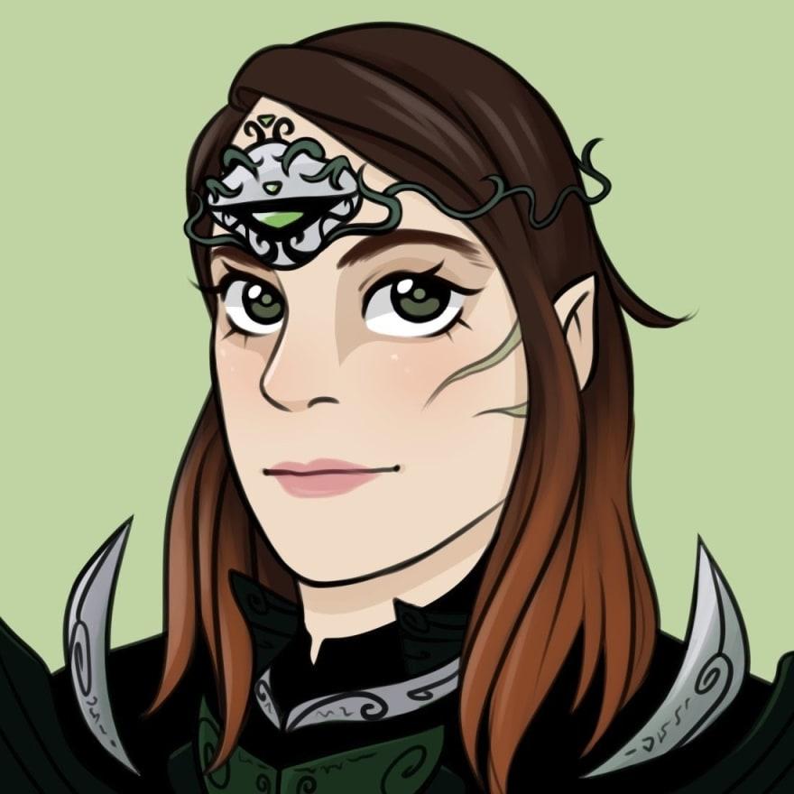 Illustrated avatar of Silke as alien warrior princess