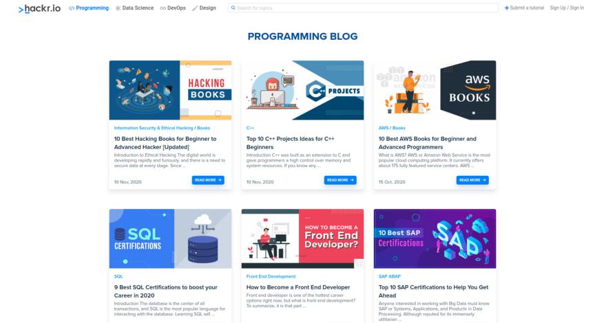 Hackr.io homepage