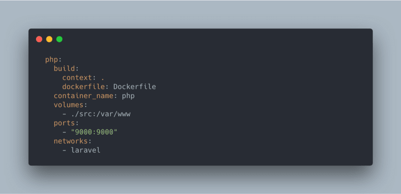 docker-compose.yml screenshot of adding the php service