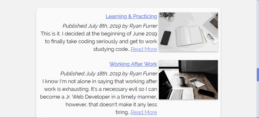 Blog section of https://www.ryanfurrer.dev/