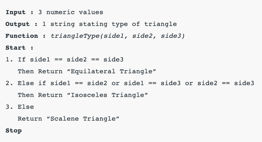 Pseudo-code for the triangleType function