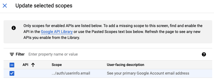 Updating selected Google scopes<br>