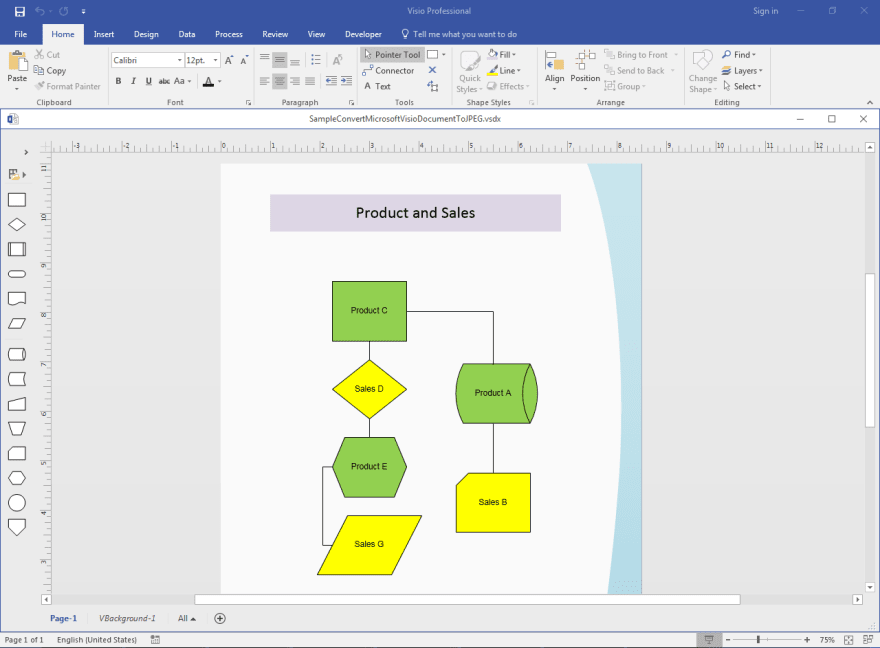 Sample Microsoft Visio Document to be converted to JPG or JPEG using Aspose.Diagram API.