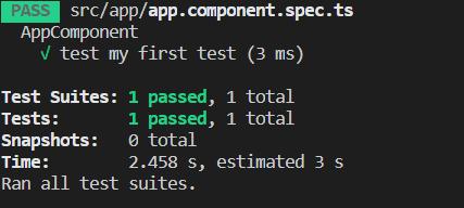Resultado del test arreglado y pasando correctamente