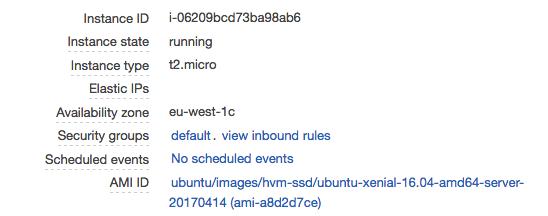 AWS console details