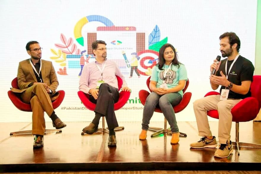 Me (most left) participating in panel discussion at Pakistan DSC Summit 2019
