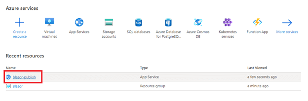 Select the created web app service (blazor-publish).