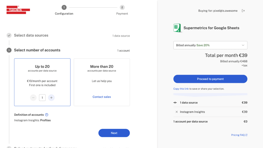 Pixel in action in our license checkout flow.