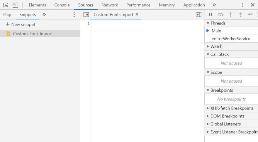 VS Code Developer Tools source snippets panel