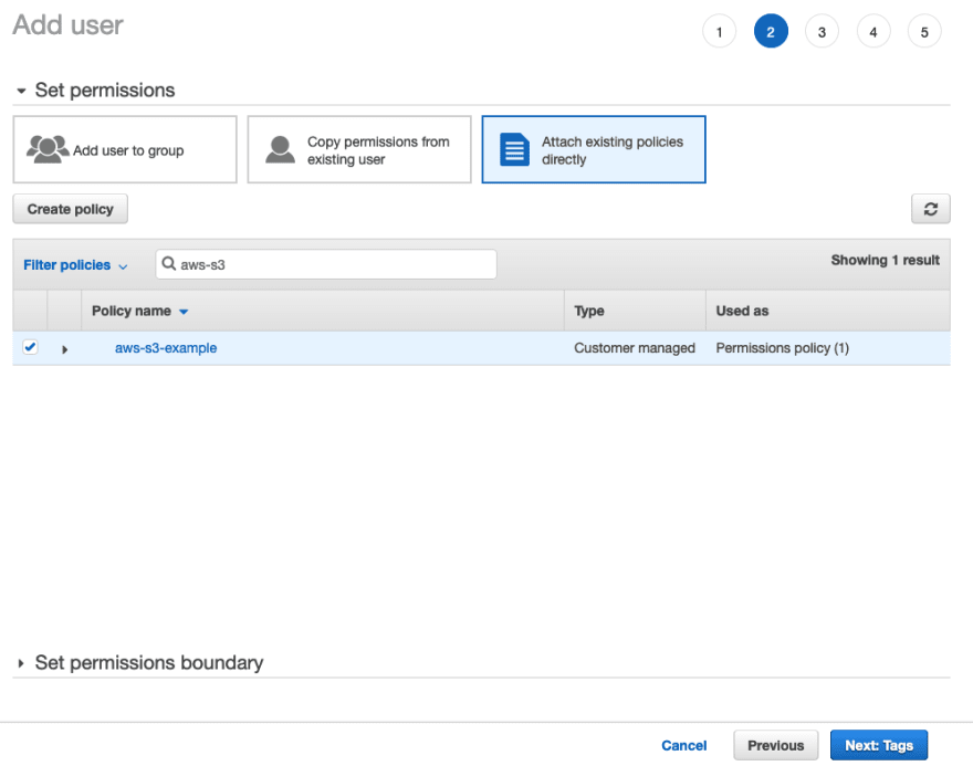A screenshot of the attach policy section of the create user screen