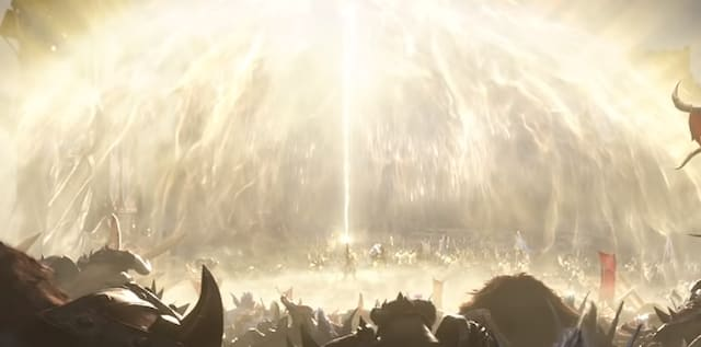 A battlefield bathed in light. The source is a man in the middle lifting his hand, healing his teammates.
