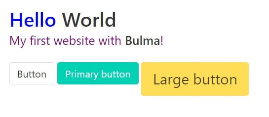 Bulma CSS - a minimum starter with buttons.