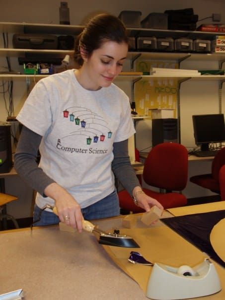julia ferraioli standing at a table with an iron