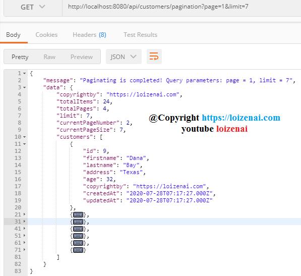 Testcase 7 – Nodejs Express PostgreSQL Pagination request