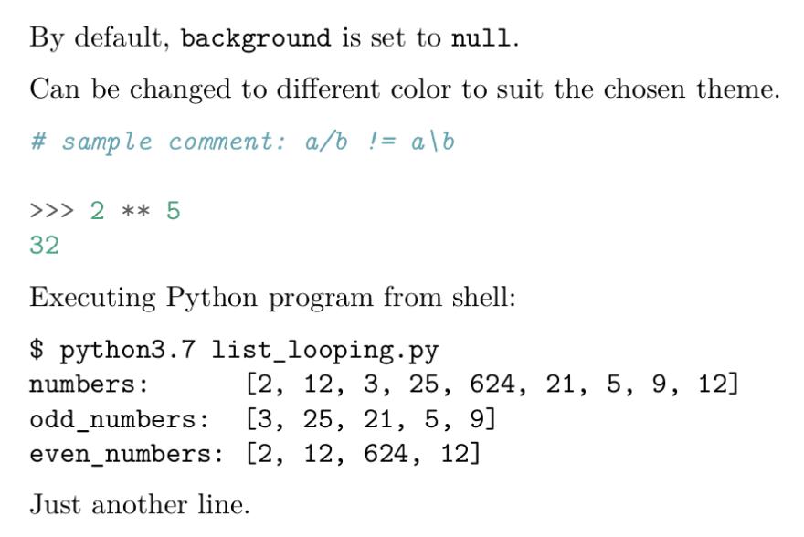 Default syntax highlighting