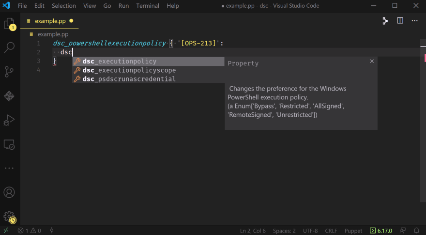 A VSCode window showing the text 'dsc' inside a Puppet resource declaration for dsc_powershellexecutionpolicy, with a tooltip listing the possible properties, including dsc_executionpolicy and dsc_executionpolicyscope; as before, the help information (now including valid values) is to the right.