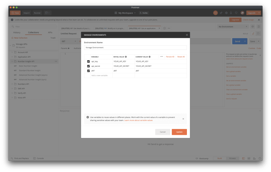 Vonage environment variables in Postman Collection