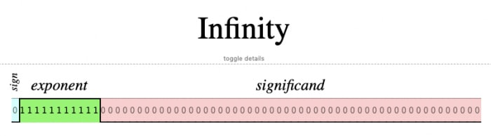 Infinity's floating point representation