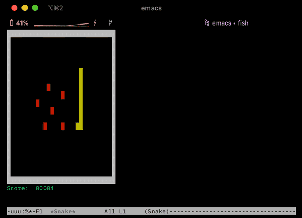 playing snake on emacs